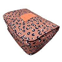 JJOnlineStore - Multi-Purpose Unisex Portable Bag Waterproof Wash Bag Multiple Compartments Cosmetic Bag Summer Holiday Travel Pattern Toiletries Bags (Peach Leopard with Hanging Hook)