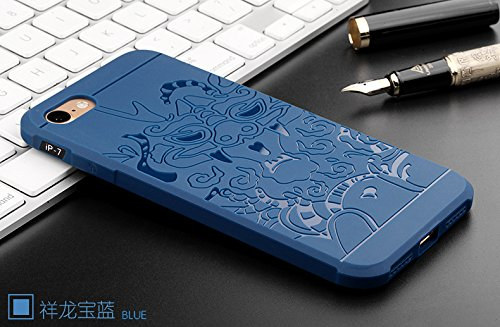 "Gukas Housse Coque Gel Silicone Case Cover Pour Apple iPhone 7 / iphone 8 4.7"" TPU Ultra Slim Soft Rubber Shock Absorber Flexible Bumper Protective Etui (Gris) Dragon Bleu"