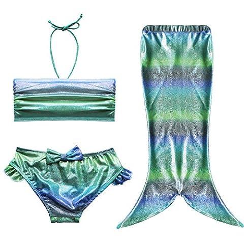 EFE Maillot de bain 3 pièces Costume Déguisement Bébé Queue de Sirène (Top + Shorts/Culotte + Jupe) Set de Bain Plage Petite Filles (2-3 ans, Gradient Vert°2)
