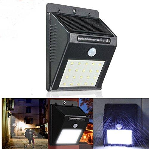 Bazaar 20 LED solarbetriebene PIR Bewegungs Sensor Wandleuchte Outdoor Security Garten Lampe (Outdoor Wandleuchte-bewegungs-sensor)
