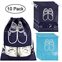 Zinuo 10 Pcs Portable Waterproof Travel Organizer Drawstring Dust-Proof Organiser Storage Bag Case for Shoes, Boots, High Heel, Navy + 5Pcs Blue,