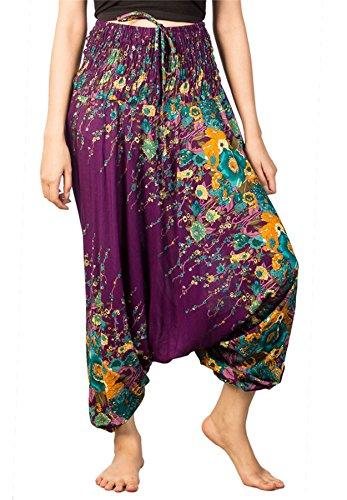 Lofbaz Damen Haremshose Jumpsuit mit Kordelzug Schöne gedruckt Floral 1 Violett