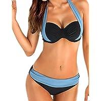 Ninimour Donne Titolare bicolore elegante collo costume da bagno push-up bikini insieme
