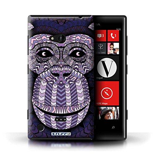 Kobalt® Imprimé Etui / Coque pour Nokia Lumia 720 / Hibou-Mono conception / Série Motif Animaux Aztec Singe-Pourpre