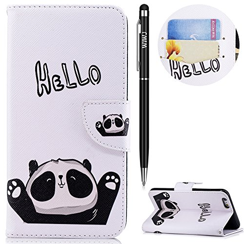 WIWJ iPhone 6 Plus Hülle,iPhone 6S Plus Leather Handyhülle, Wallet Case[Messer Schnalle Gemalt Stand Handy Case] Schutzhüllen für iPhone 6 Plus/iPhone 6S Plus-Hallo Panda
