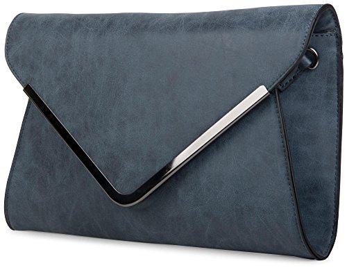 styleBREAKER borsa clutch a busta, borsetta da sera con design a quadri con bretelle e tracolla, donna 02012047, colore:Rosa Blu scuro