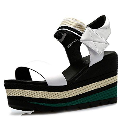 ZHANGRONG-- Pente avec sandales Sandales étanches à talons hauts d'été Chaussures épaisses Chaussures plates en cuir sauvage (3 couleurs en option) (taille facultative) ( Couleur : C , taille : 35 ) A