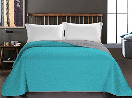 Couvre-lit turquoise gris acier Jeté de lit double face entretien facile Axel, Polyester, turquoise/acier, 200 x 220 cm