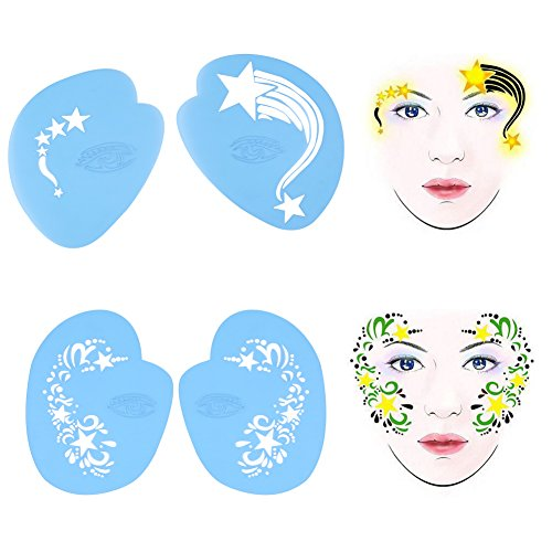 ke up schablone körpermalvorlage blume schmetterling make up werkzeug für körpermalerei, partys, halloween und kinder make up ()