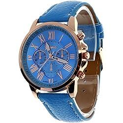 Zolimx Women's Roman Numerals Faux Leather Analog Quartz Wrist Watch Blue