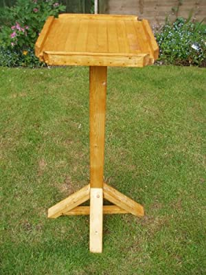 Handmade pre-assembled 1.2m high open walnut stained Pottplanters bird table with a 375mm square tray from Pottyplanters