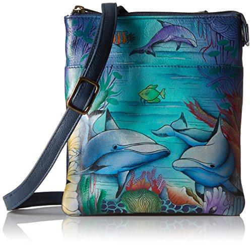 Anuschka handbemalte Lederhandtasche für Frauen, Damen-Umhängetasche mit Reißverschluss Fächern, RFID-Blocking Schutzfutter für Bankkarten und Personalausweis (Delphin 596 DWD) (Umhängetasche Anuschka)