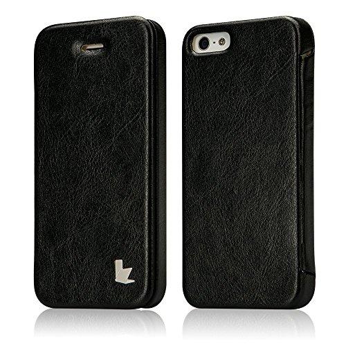 Jisoncase ELEGANT Hülle für iPhone 5 / iPhone SE / iPhone 5S Handytasche Schwarz Flip Case Cover für Apple Phone mit integriertem Magnetverschluss Tasche JS-ISE-01M10