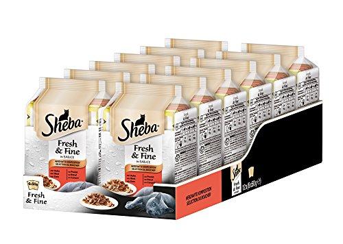 Sheba Adult Katzen-/Nassfutter, für erwachsene Katzen Fresh und Fine Herzhafte Komposition in Sauce, 12 Portionsbeutel (12 x 6 x 50g)