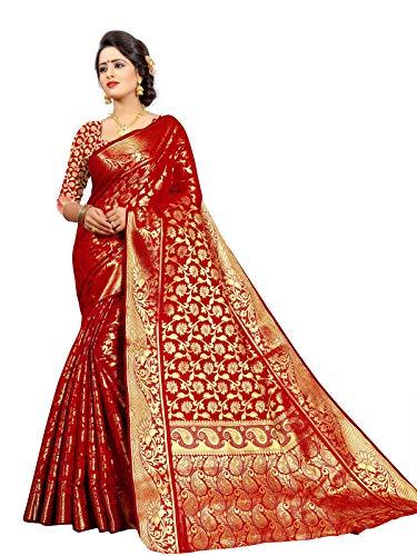 Ek-Pal Women's Banarasi Silk Saree with Blouse Piece (J1015, Red)