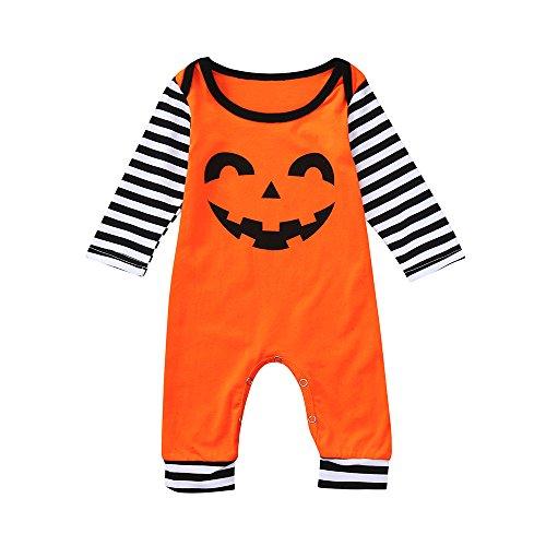 Jimmackey neonato striscia manica lunga pagliaccetto zucca stampa tutina body halloween vestiti, bambino da 6 a 24 mesi