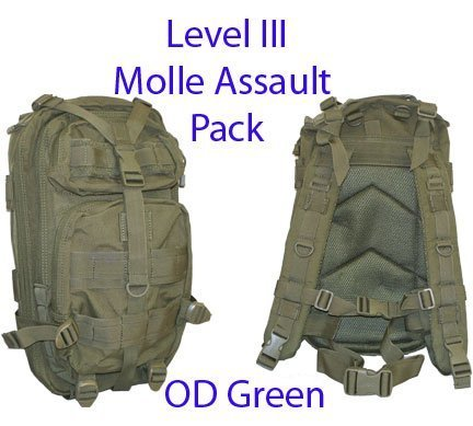 Level III LV3 Molle Assault Pack Backpack--OD GREEN by Level III