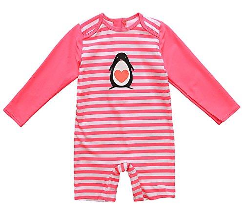 Attraco Baby Badeanzug Mädchen Rash Guard UV Langarm Streifen One Piece Bademode UPF50+ Rot Streifen 6-12 Monate