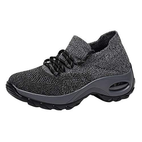 LILIGOD Frauen Mesh-Schuhe Dicker Boden Plateauschuhe Pufferkissen Damen Schuhe Schaukelschuhe Outdoor Lässige Laufschuhe Bequem Weicher Boden Freizeitschuhe Lace Up Sneaker -