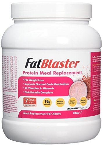 FatBlaster Strawberry, Whey Protein, Meal Replacement, Diet Shake, 22 Essential Vitamins, Nutritionally complete, For Men & Women – 700g (14 Servings)