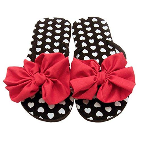 Infradito sandalo per donna ragazze perizoma per il tempo libero fermaglio a punta piatta pantofola in estate per scarpe da spiaggia al mare nero con puntino bianco e fiocco rosso
