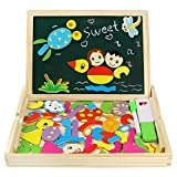 Fajiabao Magnetic Drawing Board Game Double Sided Blackboard Wooden Jigsaw Puzzles Wooden Toys Educational for Girls Boys Kids Toddler 3 4 5 Year Olds