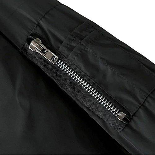 iPretty Herbst Jacke Damen Kurze Bomberjacke Spleiß Mantel Stehkragen Jacke College Jacke mit Reißverschluss Cardigan Outwear - 3