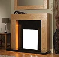 Gas Electric Fire Modern Oak Surround Black Marble Granite Stone Hearth & Back Panel Wall Fireplace Suite 48""