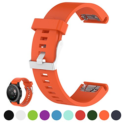 Für Garmin Fenix 5S/Fenix 5S Saphhire Smartwatch Gps-Multisportuhr Ersatz Uhrenarmband Band - iFeeker 20mm Breite Weich Silikon Armbanduhr Armband für Garmin Fenix 5S / Fenix 5S Sapphire Laufen Smartwatch (kein Uhrgerät, Ersatzband nur)