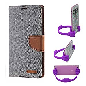 Aart Fancy Wallet Dairy Jeans Flip Case Cover for Asuszen-5 (Grey) + Flexible Portable Mount Cradle Thumb OK Designed Stand Holder By Aart Store.