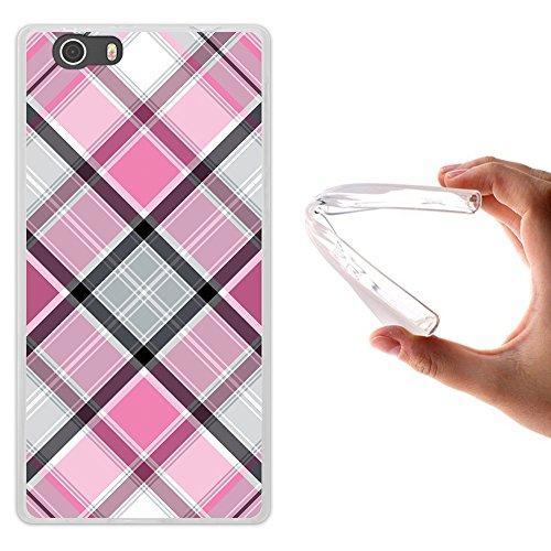 Elephone M2 Hülle, WoowCase Handyhülle Silikon für [ Elephone M2 ] Rhombus Pink Schottenkaro Handytasche Handy Cover Case Schutzhülle Flexible TPU - Transparent