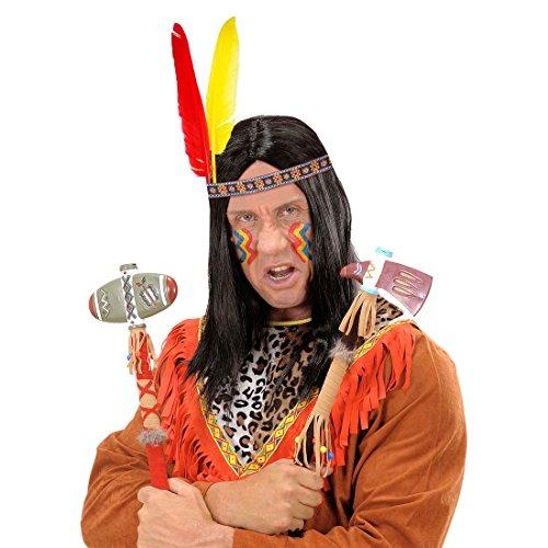 Indian Kostüm Apache - Indianer Kopfschmuck Häuptling Feder Stirnband Western Haarband Kopfband Federkopfschmuck Apachen Rothaut Squaw Wilder Westen Federschmuck Fasching Cowboy Mottoparty Accessoire Karneval Kostüm Zubehör