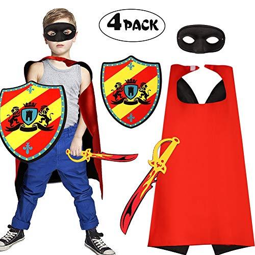 Tacobear Disfraz Caballero para Niño Espada Juguete Escudos Juguete Capa Mascarillas Superheroes Cosplay Fiesta Cumpleaños para Niños Niñas