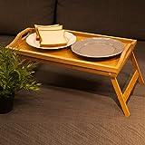 Hankey FT01asas de desayuno mesa para ordenador portátil la cama bandeja para servir w de bambú plegable piernas