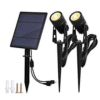 T-SUN 2W Solar Spotlights, IP65 Waterproof 9.8ft Cable Lenght 270° Angle Adjustable Auto On/Off with 2 Warm White Dual Spot Headlamp Garden Lamp Landscape Lamp for Tree,Patio, Yard, Garden.