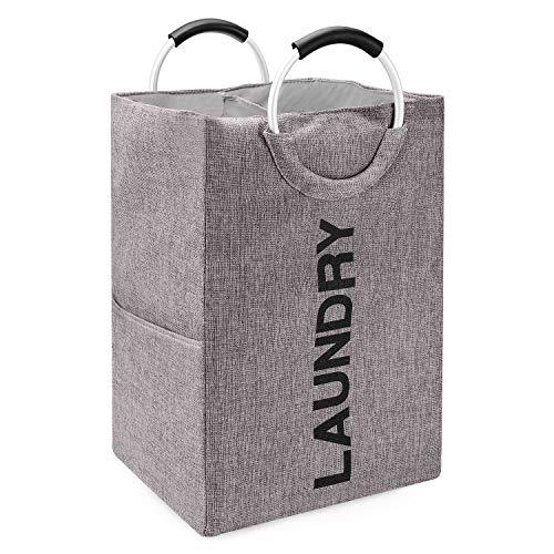 CookJoy Wäschekorb Zwei Fächer Wäschekorb Faltbarer Wäschesammler Kleidungsorganizer mit magnetischem Deckel und Abnehmbaren Innensäcke, Grau … (Grau1)