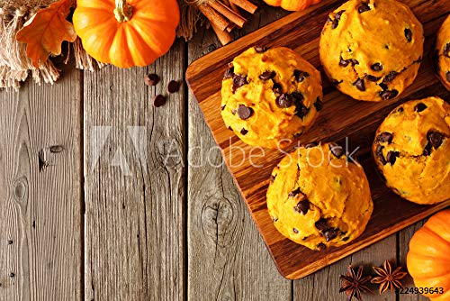 druck-shop24 Wunschmotiv: Autumn Pumpkin Chocolate chip Muffins. Top View Table Scene on a Rustic Wood Background with Copy Space. #224939643 - Bild hinter Acrylglas - 3:2-60 x 40 cm / 40 x 60 cm (Chocolate Chip Muffins)