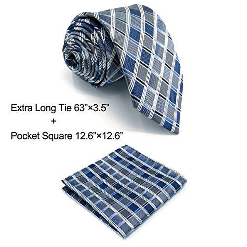 Shlax&Wing Krawatte For Männer Blau Kariertot Kariert Seide Mehrfarbigs Geschäftsanzug