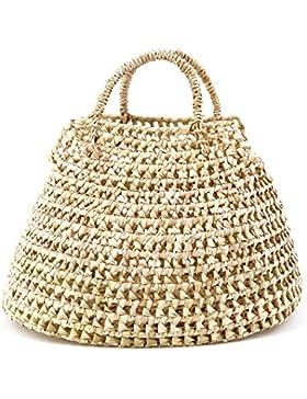 Rouven / Rut 37 Palm Basket Bohemian Tote Bag Korb / Beige / Ibiza Strand Bastkorb Basttasche Tasche Handtasche...