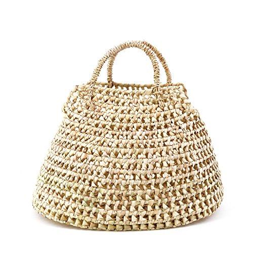 Strand Tasche Tote Handtasche (Rouven / Rut 37 Palm Basket Bohemian Tote Bag Korb / Beige / Ibiza Strand Bastkorb Basttasche Tasche Handtasche / Medium / geflochten modern chic puristisch extravagant (37x25x24cm))