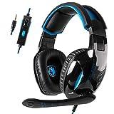 GW Sades SA816 Over-Ear-Gaming-Kopfhörer, 3,5 mm Rauschunterdrückung, Mikrofon, Lautstärkeregler für Laptop und Mac (Schwarz und Blau)