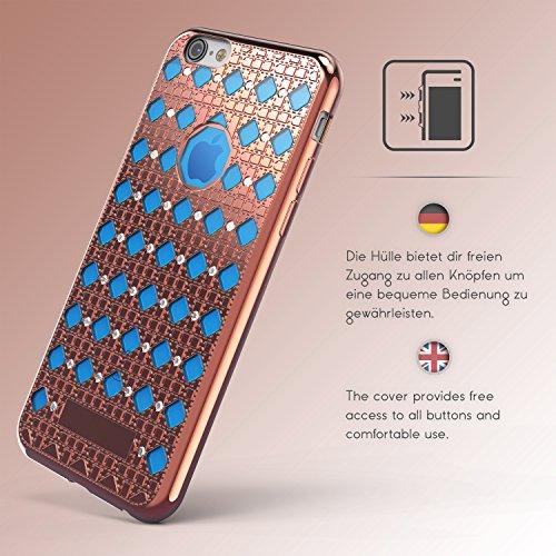 Urcover® Apple iPhone 6 Plus / 6s Plus Hülle Oriental Silikon Case mit Stylischem Muster Handyhülle Gold / Blau Cover Back Schutzhülle Handyschutz Rose Gold / Blau