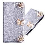 Magnetverschluss Bookstyle für Samsung S9,Butterfly Diamond Sparkle Funkeln Bling Glitter Glitzer Ledertasche Stand Funktion Kartenfach Slim Klassisch Modisch Flip Wallet Hülle Schutzhülle -
