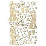 Ideen mit Herz 3-D Sticker Deluxe, zur Hochzeit, Verschiedene Hochzeitsmotive, erhabene Aufkleber, Bogengröße: 21 x 30 cm (Gold)