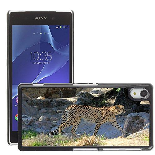 Just Phone Cases Bild Hart Handy Schwarz Schutz Case Cover Schale Etui // M00128864 Cheetah African Predator Gehen // Sony Xperia Z2 L50W (Cheetah Gehen)