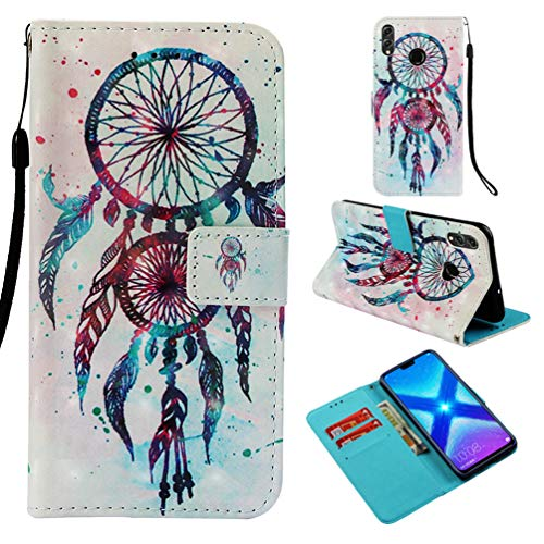 Edauto für Huawei Honor 8X Hülle Case Handyhülle Schutzhülle Flip Phone Case Ständer Kartenetui Innere Schale Tasche in Karteneinschub,Flip Wallet Case Cover für Huawei Honor 8X Windspiele