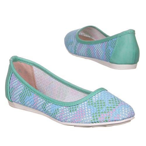 Scarpe Da Donna, 8157-bl, Ballerine Blu Multi