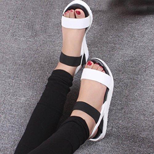Rcool Damen Sommer Sandalen Schuhe Low Schuhe Römische Sandalen Weiß