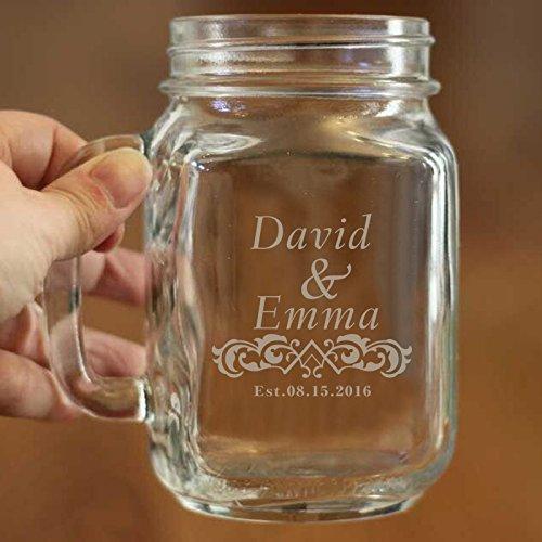 Personalisierte Mason Jar Verzierungen für Home Custom Name und Datum auf Mason Becher mit Griffen Klauenhammer, Beauty Glas Mason Tasse
