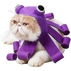 Idepet Disfraz de gato mascota Sombrero de pulpo morado Vístete para Halloween Eventos navideños Cómodo para gato Sombreros para perros pequeños